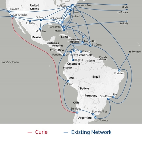 Sparkle takes fibre pair on Google's Curie submarine cable