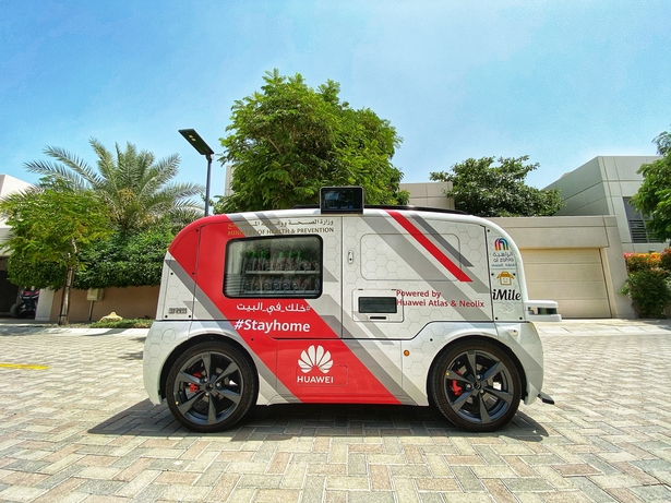 Driverless car roaming through Sharjah community powered by Huawei tech