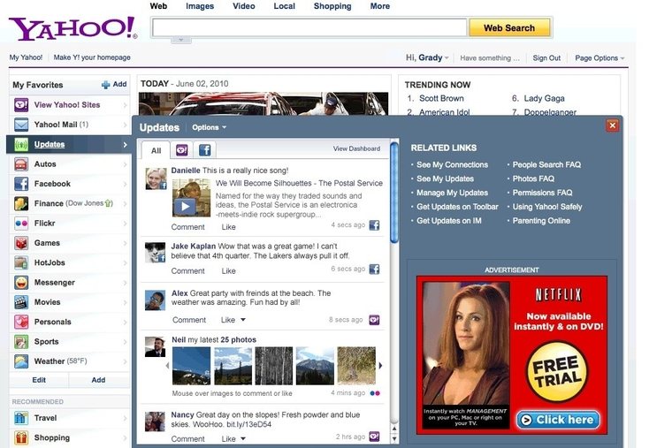 Yahoo! welcomes Facebook to its pages