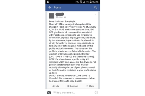 Facebook 'copyright' warning is a hoax